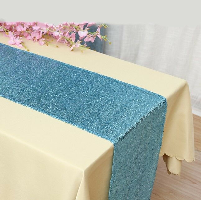 Light bleu glitter sequin table runner wedding anniversary party cake table deco
