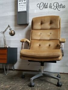 Vintage-Retro-Mid-Century-chrome-Desk-OFFICE-Swivel-Chair-1970s-eames-era-superb