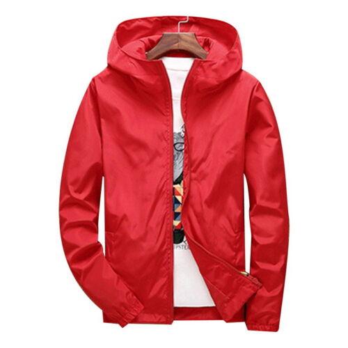 Mens Fashion Windbreaker Jackets Casual Hooded Jackets Bomber Zipper Jackets