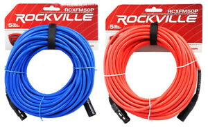 2-Rockville-50-039-Female-to-Male-REAN-XLR-Mic-Cable-100-Copper-Red-and-Blue