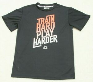 RBX-Black-T-Shirt-Boys-Solid-Short-Sleeve-Large-14-16-Train-Hard-Play-Harder-Top