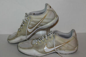 Nike Zoom Sister One + Running Shoes #344986-111 Wht/Gold Womens US Size 7.5