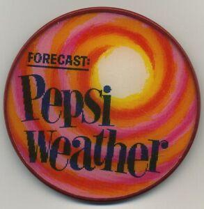 Pepsi Cola Forecast: Pepsi Weather 1960's VARI-VUE Motion Lenticular Pin Button