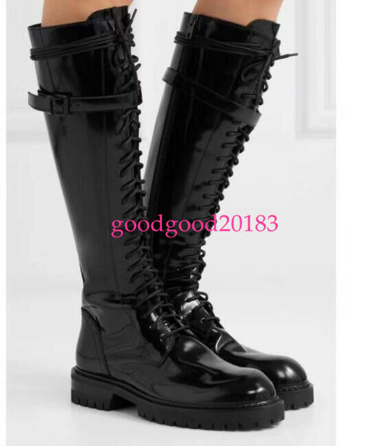 Ladies Knee High Boots Patent Leather Combat Riding Lace Up Knne High Boots Punk