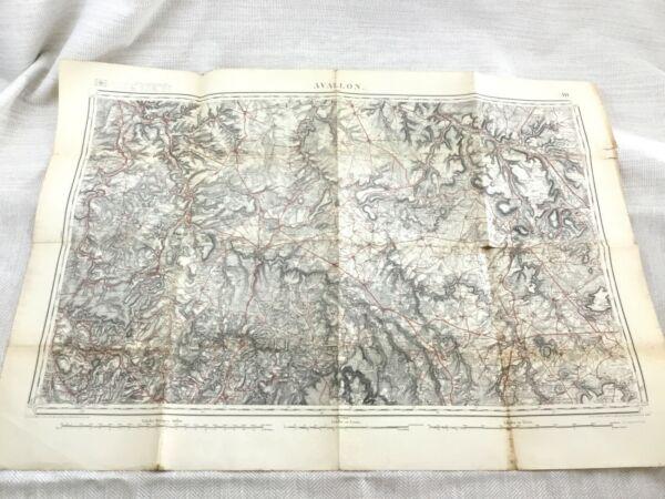 1886 Antik Französisch Landkarte Avallon Yonne Department 19th Century Original