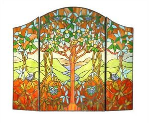 tiffany stained glass fireplace screen garden of eden tree of rh ebay com stained glass fireplace screen amazon stained glass fireplace screen ebay