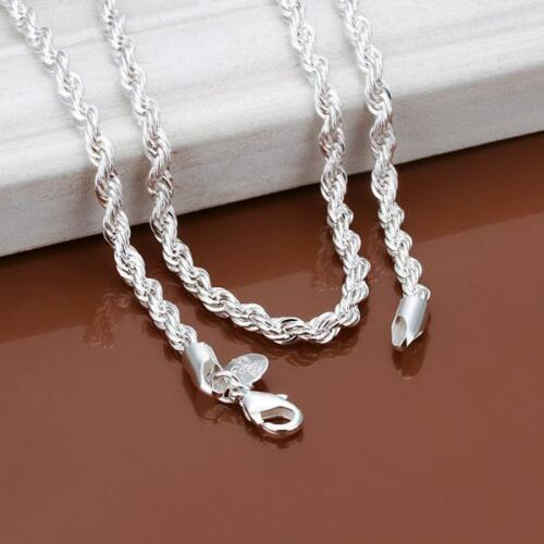 """3mm Silver Sterling 925 Twisted Rope Chain Necklace Length 16/"""" 18/"""" 20/"""" 22/"""" 24/"""""""