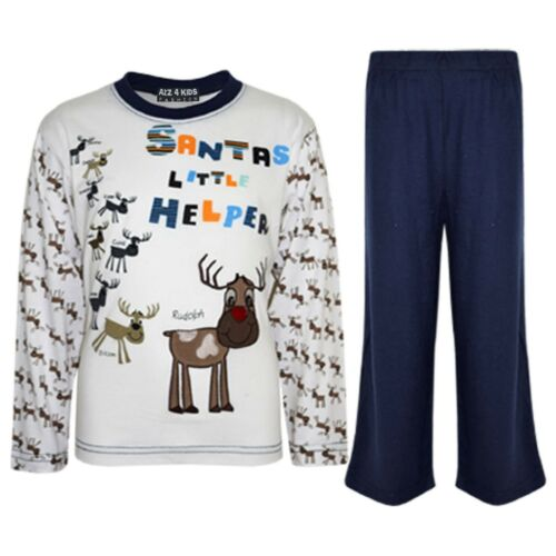 "Kids Boys Girls Navy /""SANTAS LITTLE HELPER/"" Christmas Pyjamas Reindeer Rudolph"