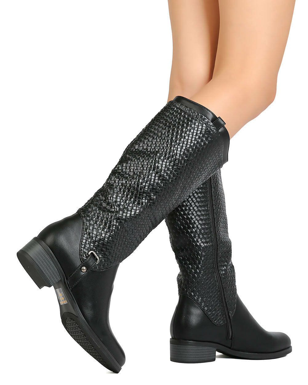 New Women Betani Amber-11 Leatherette Knee High Basket Weave Riding Boot Boot Riding b7d9f8