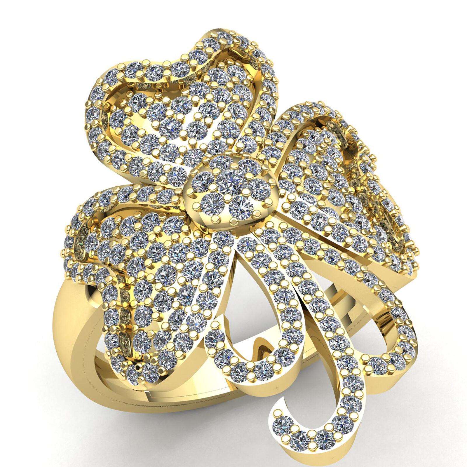 Genuine 1ctw Round Diamond Ladies Cluster Flower Fancy Engagement Ring 14K gold