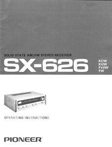 pioneer sx 626 receiver owners manual ebay rh ebay com pioneer receiver vsx-818v owners manual Pioneer Receiver 302 Manual