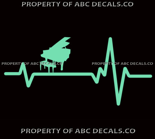 Heart Beat line GRAND PIANO Lessons Seat Bench Sheet Music Love CAR VINYL DECAL