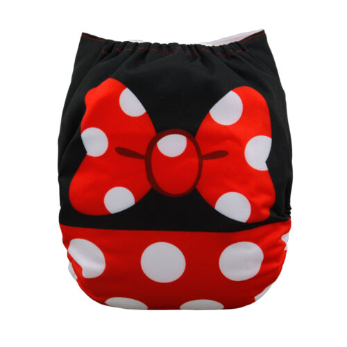 ALVA Baby Girl Cloth Diaper Reusable Washable Pocket Nappy+1Insert Minnie Mouse