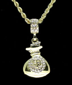 Mini-Money-Bag-Pendant-Icy-14k-Gold-Plated-24-034-Rope-Necklace-Hip-Hop