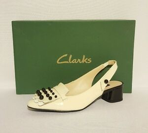 CLARKS-SWIXTIES-SLING-WHITE-PATENT-LEATHER-SLING-BACKS-HEELS-LADIES-SHOES