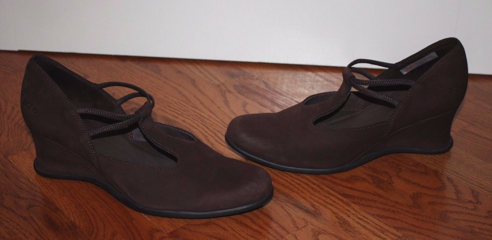 Donna Arche Brown Suede Pelle Wedges Shoes Size 40