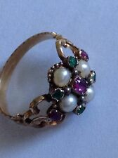 Beautiful Fine Victorian 15ct Gold Suffragette Ruby, Emerald & Seed Pearl Ring