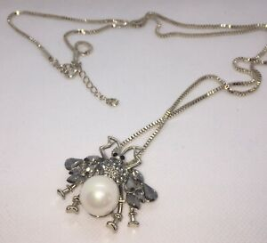 157039167 Image is loading Designer-Inspired-Bee-Pearl-Crystals-Diamantes-Necklace- Gold-