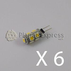 6-x-Bombilla-G4-9-Led-SMD-Blanco-Frio-145-Lumen-12V-DC-caravana-barco-coche