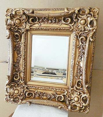 "Large Louis XV Wood/Resin ""18x20"" Rectangle Beveled Framed Wall Mirror"