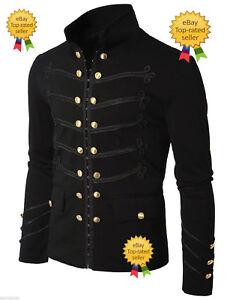 Hombres-Hecho-a-Mano-Negro-Bordado-Militar-Napoleon-Gancho-Jacket-100-algodon