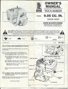 tecumseh owners manual 9 06 snow king snow blower engine ebay rh ebay com tecumseh service manual pdf tecumseh service manual download