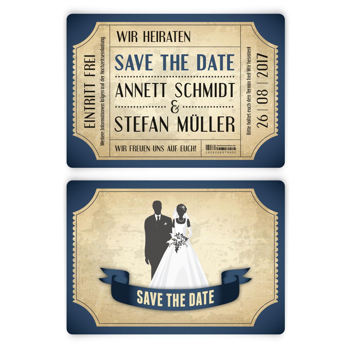 Save the Date Karten zur Hochzeit - Vintage Brautpaar in Blau   | Züchtungen Eingeführt Werden Eine Nach Der Anderen  | Perfekt In Verarbeitung
