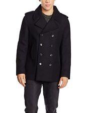 New Look Men's Wool Peacoat Coat Black (Navy Pea Coat) Medium