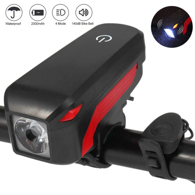 Horn USB Rechargeable Electric LED Bicycle Headlight Bike Head lamp Light US