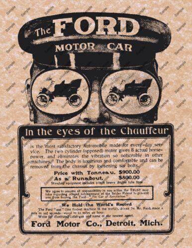 THE FORD MOTOR CAR ANTIQUE REPLICA POSTER Automobile Car 1900/'s Model T  063