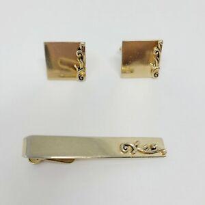 1960s Silver Tone Metal Tie Clip Vintage Swank Greek Key Tie Bar