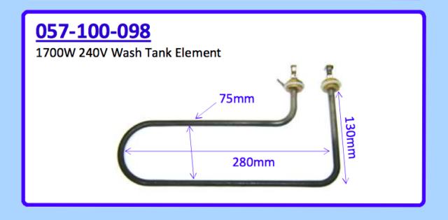 1700W 240V WASH TANK ELEMENT 057-100-098