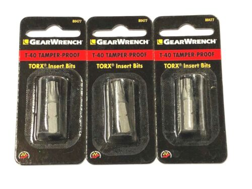 GearWrench T-40 Torx Insert Bits Tamper Proof 3 Pack 80477