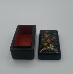 USSR Russia Vintage Black Minature Bird Pill Trinket Ring Jewelry Box 1.5×2.5'