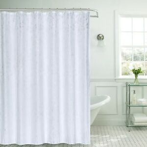 Image Is Loading 13pc Jessica White Silver Leaves Fabric Shower Curtain