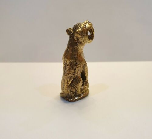 Brass Lucky Amulet Sat Tiger Talisman Figurine Animal Mini Charm Collectibles