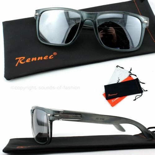 Sonnenbrille Transparent Anthrazit Silber Verspiegelt Nerd Rechteckig Unisex A3