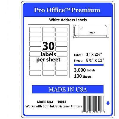 "P12  1"" x 2 5/8"" Pro Office Self-Adhesive Address Label, 5160 USPS FedEx"