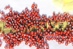 8-0-Antique-Venetian-Made-In-Italy-Dark-Rose-White-Heart-3-Seed-Beads-1oz