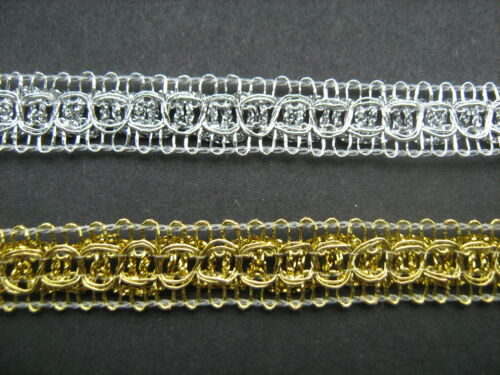 Silver Gold Braid Trim 1.6cm   Sewing//Crafts//Costume//Corsetry