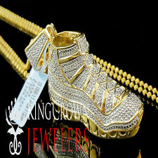 Men Real Diamond Jumpman Jordan 23 Shoe Pendant 1.75 inch 10K Yellow Gold Finish