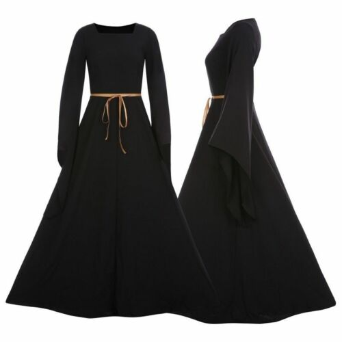Womens Halloween Vintage Renaissance Gothic Dress Costume Medieval Gown Dress US