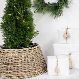Contemporary Modern Christmas Xmas Tree Wicker Wooven Skirt Home Decor 60x26CM