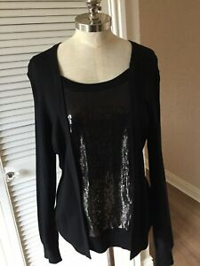 Sequin £ Size Jumper Panel Bnwt 69 Large Planet Black q1w0xxE6