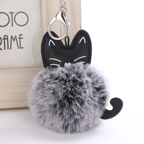 Cat Pom Pom Furry Ball Keyring Key Ring Chain Women Handbag Charm Pendant Decor