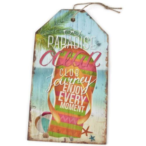 Wooden Shield Paradise Ocean Club Design MDF 27x15cm Colourful Wall Picture Vintage Deco