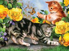 Malen nach Zahlen spielende Katzen Kätzchen Komplettset 30 cm x 40 cm Großformat