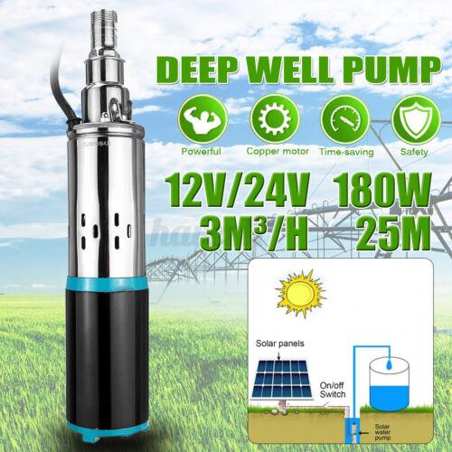 12//24V 8m³//h Solar Power Water Pump Farm Ranch Submersible Bore Hole Deep