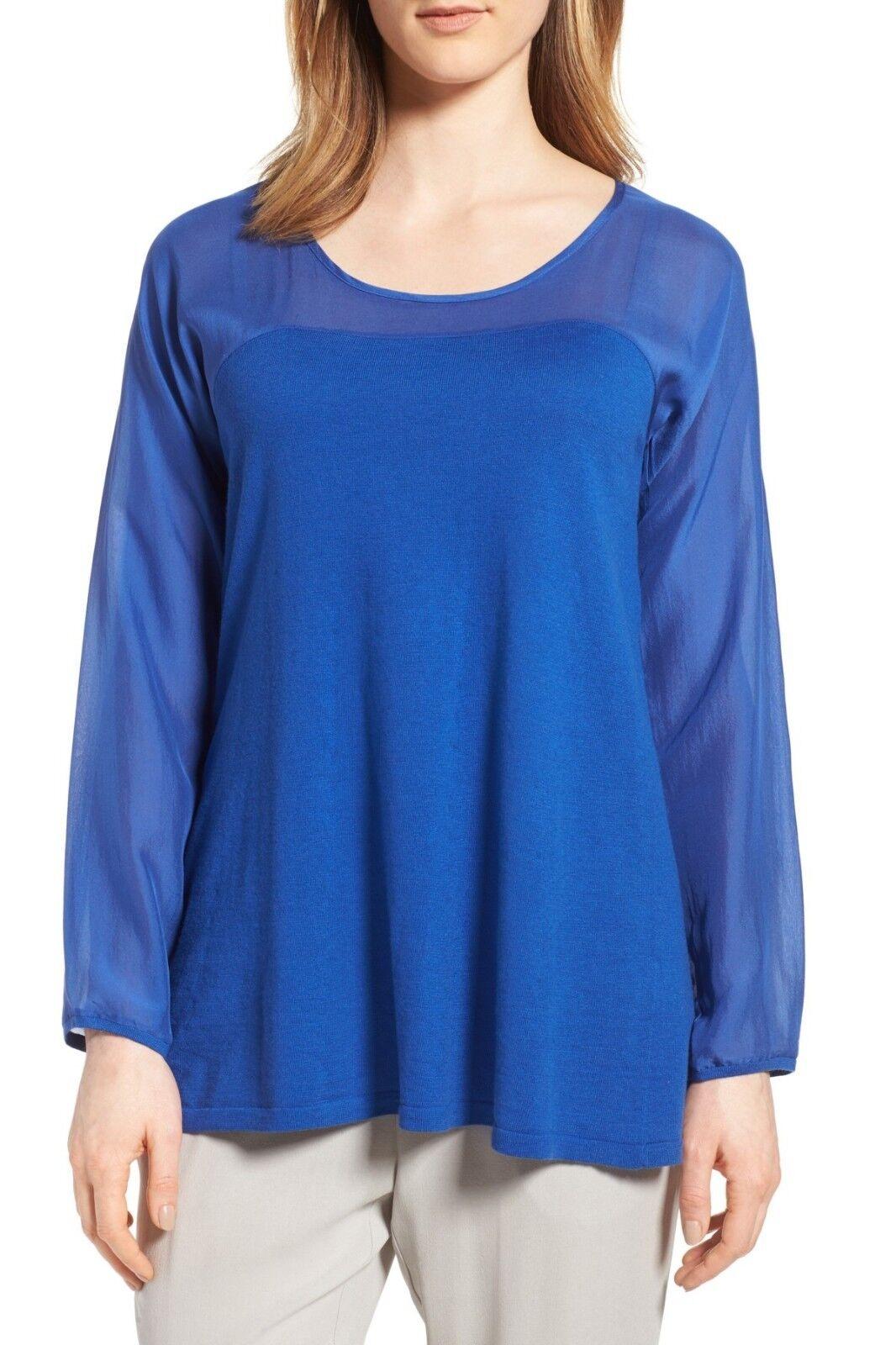 Eileen Fisher Scoop Neck Woven Contrast Tunic Größe Medium (Retail )