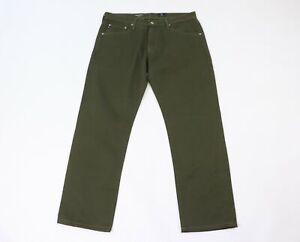 Adriano-Goldschmied-Uomo-34x30-il-Graduate-su-Misura-Jeans-Gamba-Pantaloni-Verde